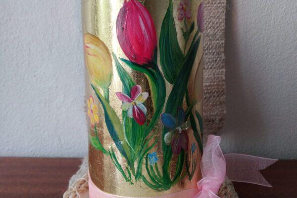 candela di buon compleanno decorata a mano